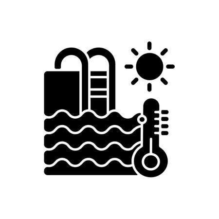 Water temperature black glyph icon. Water park recreation, summer rest silhouette symbol on white space. Aquapark rule, healthy conditions. Swimming pool with thermometer vector isolated illustration
