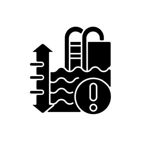 Pool depth black glyph icon. Aqua park recreation rule, safe swimming conditions silhouette symbol on white space. Secure summer recreation. Water surface level warning vector isolated illustration