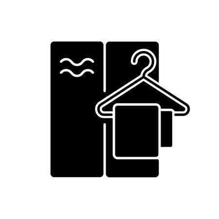 Changing cabin black glyph icon. Water park, summer beach, public swimming pool recreation silhouette symbol on white space. Personal closet for storing spare clothes. Vector isolated illustration