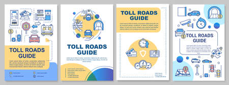 Toll roads guide brochure template. Electronic toll collection. Flyer, booklet, leaflet print, cover design with linear icons. Vector layouts for magazines, annual reports, advertising posters