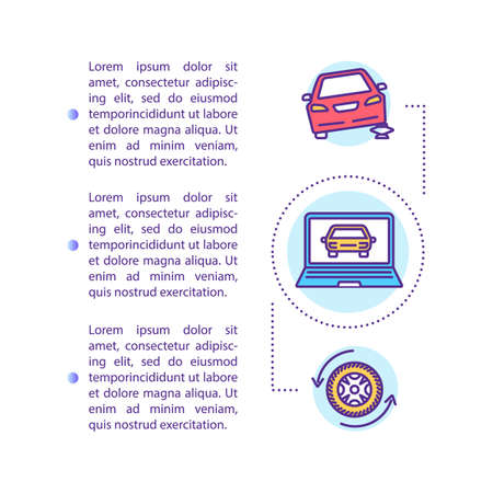 Car diagnostics and recovery concept icon with text. PPT page vector template. Engine vacuum, fuel delivery and motor testing. Brochure, magazine, booklet design element with linear illustrations