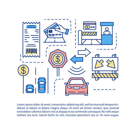 Road management system concept icon with text. PPT page vector template. Toll booth payment. Traffic rules and regulations. Brochure, magazine, booklet design element with linear illustrations