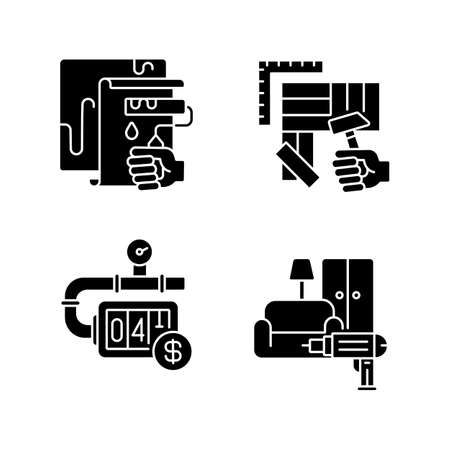 House renovations black glyph icons set on white space. Furniture installation. Flooring installation. Painting walls with roller. Gas meter. Silhouette symbols. Vector isolated illustration