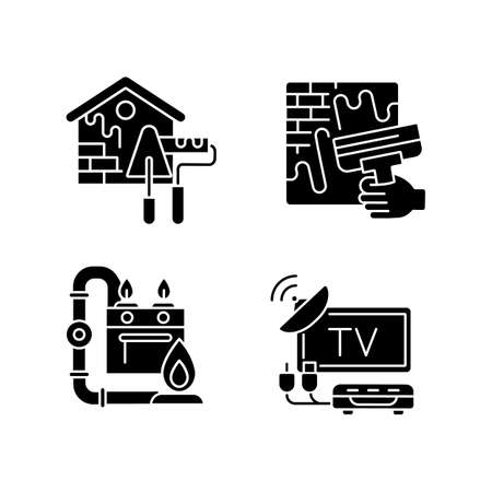 House repairs and facilities black glyph icons set on white space. External decoration. House decorating and renovating. Gas pipework. TV tuner. Silhouette symbols. Vector isolated illustration Vecteurs