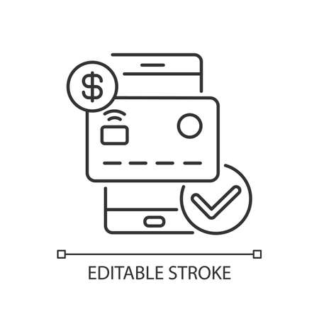 Check balances linear icon. E wallet application. Mobile banking app using. Payment confirm. Thin line customizable illustration. Contour symbol. Vector isolated outline drawing. Editable stroke