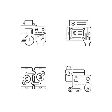 E bank service and security linear icons set. Instant card issuance. Mobile deposits. Lock and unlock card. Customizable thin line contour symbols. Isolated outline illustrations. Editable stroke