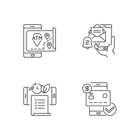 Mobile bank service app linear icons set. ATMs map. Email alert. Paperless statements. Check balances. Customizable thin line contour symbols. Isolated vector outline illustrations. Editable stroke