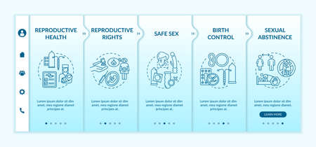 Reproductive health onboarding vector template. Sexual education. Safe sex. Birth control with condom. Responsive mobile website with icons. Webpage walkthrough step screens. RGB color concept