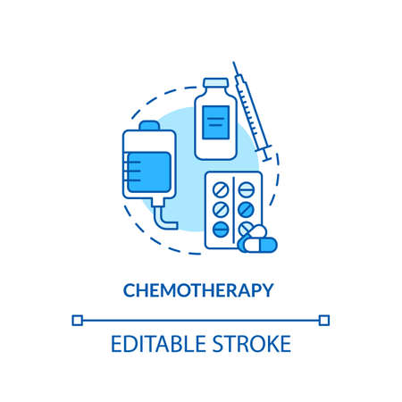 Chemotherapy concept icon. Melanoma treatment. Anticancer therapy. Intravenous chemotherapy idea thin line illustration. Vector isolated outline RGB color drawing. Editable stroke