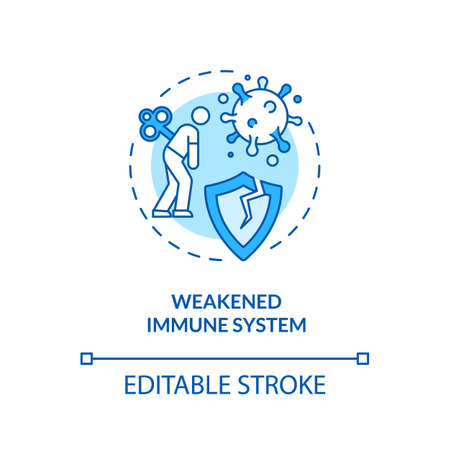 Weakened immune system concept icon. Immune system disorders. Health care. Immunodeficiency idea thin line illustration. Vector isolated outline RGB color drawing. Editable stroke