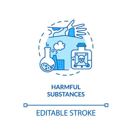 Harmful substances concept icon. Melanoma risk factors. Dangerous chemicals and hazardous substances idea thin line illustration. Vector isolated outline RGB color drawing. Editable stroke Иллюстрация