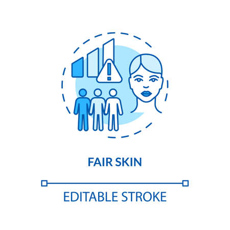 Fair skin concept icon. Light skin. Epidermis. Ultraviolet radiation. Skin cancer risk factors idea thin line illustration. Vector isolated outline RGB color drawing. Editable stroke