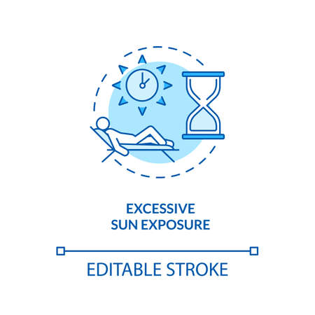 Excessive sun exposure concept icon. Tanning and sunbathing danger. Dermatology. UV light idea thin line illustration. Vector isolated outline RGB color drawing. Editable stroke Ilustración de vector