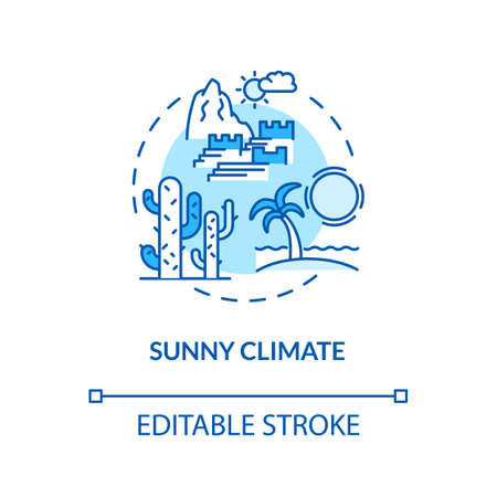 Sunny climate concept icon. Sunny temperature. Summer vacation. Tropical climate. Warm environment idea thin line illustration. Vector isolated outline RGB color drawing. Editable stroke