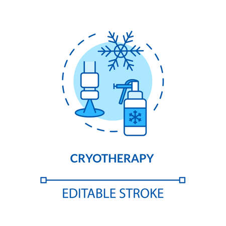 Cryotherapy concept icon. Melanoma therapies. Cold therapy. Carcinoma. Cryosurgery. Local skin cancer treatment idea thin line illustration. Vector isolated outline RGB color drawing. Editable stroke