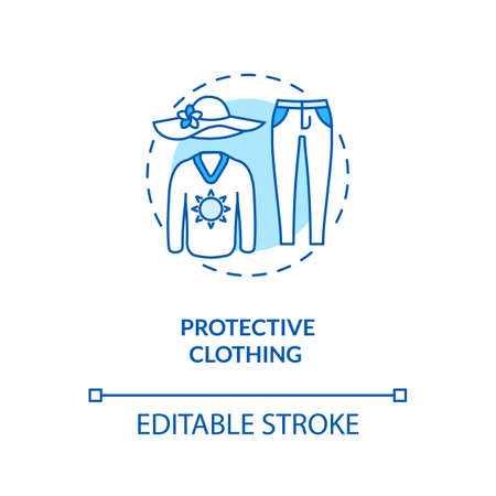 Protective clothing concept icon. Skin cancer prevention. Summer. Ultraviolet protection factor idea thin line illustration. Vector isolated outline RGB color drawing. Editable stroke
