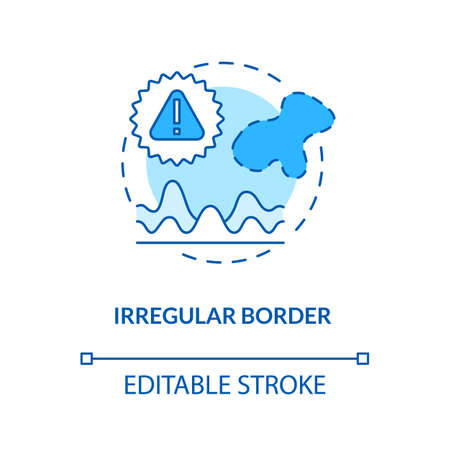 Irregular border concept icon. Scalloped borders. Skin cancer ABCDEs. Melanoma symptoms and signs idea thin line illustration. Vector isolated outline RGB color drawing. Editable stroke Çizim