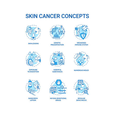 Skin cancer concept icons set. Genetic predisposition. Numerous moles. Weakened immune system. Melanoma idea thin line RGB color illustrations. Vector isolated outline drawings Иллюстрация
