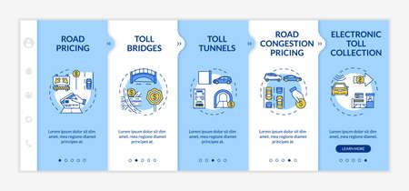Highway toll plazas onboarding vector template. Road payment. Toll bridges and tunnels. Responsive mobile website with icons. Webpage walkthrough five steps screens. RGB color concept