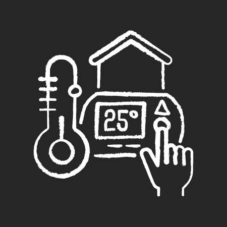 Thermostat setting chalk white icon on black background. Water heater. Air conditioner. Temperature measuring and maintenance. Programmable thermostat. Isolated vector chalkboard illustration