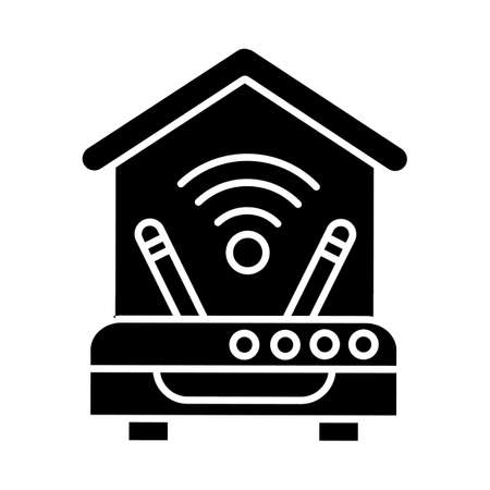 Internet connection black glyph icon. Wi Fi router with two antennas. Home internet access. Wireless network. Home improvements. Silhouette symbol on white space. Vector isolated illustration