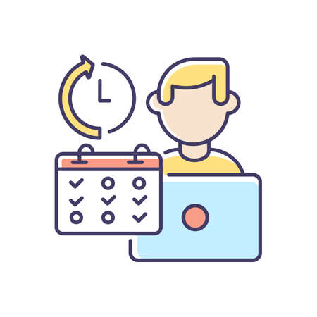 Part time job RGB color icon. Professional occupation, time management. Shift work, flexible schedule. Office worker with calendar isolated vector illustration