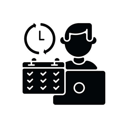 Full time job black glyph icon. Work in business company, busy working schedule. Full employment silhouette symbol on white space. Corporate office worker with calendar vector isolated illustration