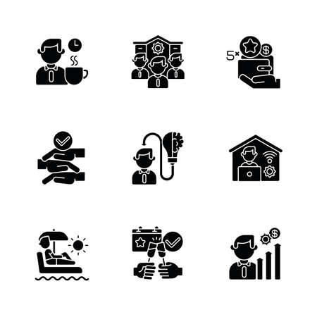 Company employment benefits black glyph icons set on white space. Healthy working conditions, career opportunities, bonuses. Professional occupation silhouette symbols. Vector isolated illustrations