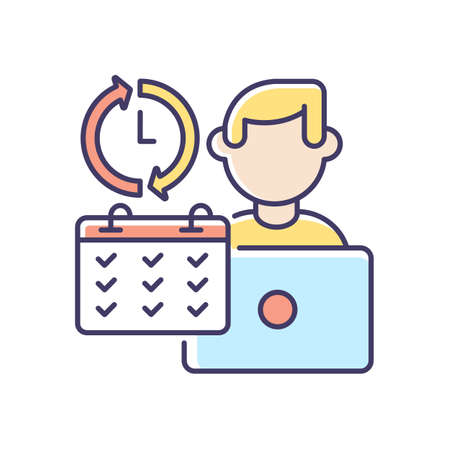 Full time job RGB color icon. Work in business company, busy working schedule. Full employment. Corporate office worker with calendar isolated vector illustration