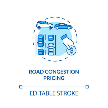 Road congestion pricing concept icon. Mechanical vehicle economics. Traffic jam reducing. Price mechanism idea thin line illustration. Vector isolated outline RGB color drawing. Editable stroke