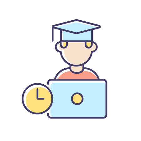 Remote education RGB color icon. Online training courses, e learning. Distant vocational education. Internet business school graduate isolated vector illustration