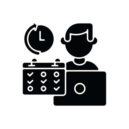 Part time job black glyph icon. Professional occupation, time management. Shift work, flexible schedule silhouette symbol on white space. Office worker with calendar vector isolated illustration