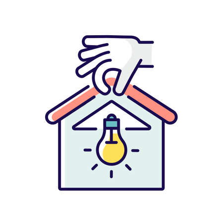 Lighting installation RGB color icon. Chandelier and light fixture. House building process. Electrician services. Home maintenance and improvements. Isolated vector illustration