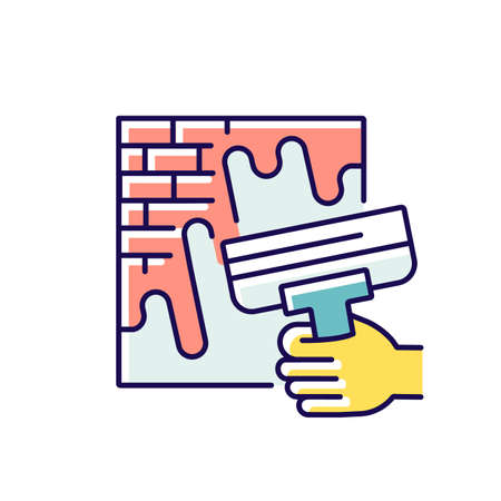 Wall putty RGB color icon. Wide spatula knife. Plastering process. Designing buildings. Walls decoration. Spackling instruments. Home remodeling and maintenance. Isolated vector illustration