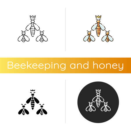 Queen bee icon. Linear black and RGB color styles. Apiology, beehive hierarchy. Beekeeping, apiculture. Honeybee workers with colony queen. Flying insects isolated vector illustrations Illustration