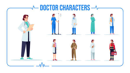 Caucasian doctor semi flat RGB color vector illustration set. General practitioner. Female baby doctor. Nurse with intravenous pole. Isolated cartoon one character on white background pack Vektorgrafik