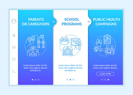 Sex education onboarding vector template. Parents and caregivers. School programs. Public health campaign. Responsive mobile website with icons. Webpage walkthrough step screens. RGB color concept Vectores