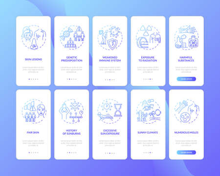Skin cancer onboarding mobile app page screen with concepts set. Genetic predisposition. Fair skin. Walkthrough 5 steps graphic instructions. UI vector template with RGB color illustrations