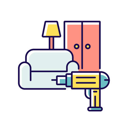Furniture installation RGB color icon. Screwing wardrobe. Household. Screwdriver. House maintenance. Furniture assembly service. Home improvements. Isolated vector illustration