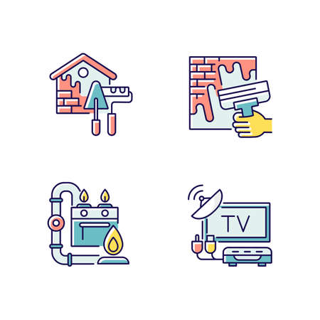 House repairs and facilities RGB color icons set. External decoration. House decorating and renovating. Gas pipework. TV tuner. Home maintenance. Isolated vector illustrations