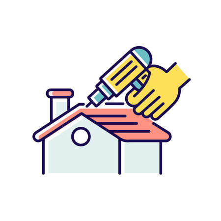 Roof constructing RGB color icon. Rooftop construction. Outdoors renovation. Roofing nailer. Exterior renovation. Pneumatic stapler. Home maintenance and remodeling. Isolated vector illustration