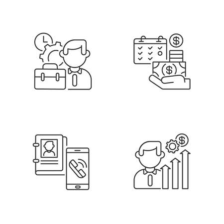 Professional occupation linear icons set. Working conditions, career, salary payment and contact info customizable thin line contour symbols. Isolated vector outline illustrations. Editable stroke