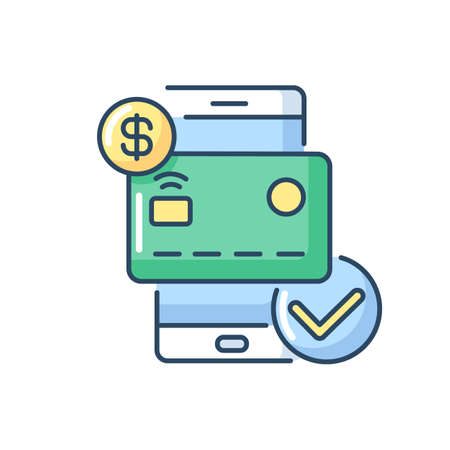Check balances RGB color icon. E wallet application. Mobile banking app using. Credit card payment confirmation. Successful e payment. Isolated vector illustration