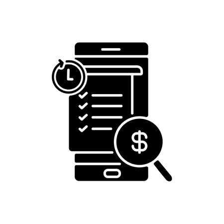 Transaction history black glyph icon. E wallet application. Mobile banking app using. E payment bill checking. Payments report. Silhouette symbol on white space. Vector isolated illustration