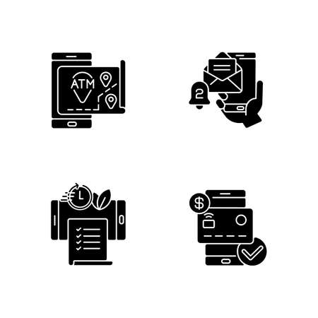 Mobile bank service app black glyph icons set on white space. ATMs map. Email alert. Paperless statements. Check balances. Silhouette symbols. Vector isolated illustration