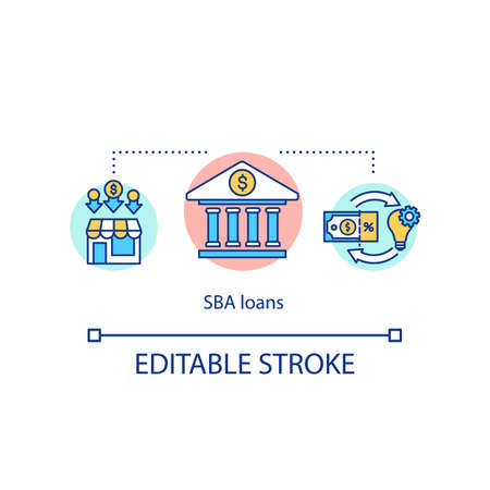 SBA loans concept icon. Small business administration idea thin line illustration. Bank credits for small enterprises and startups. Vector isolated outline RGB color drawing. Editable stroke