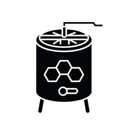 Honey extractor black glyph icon. Professional beekeeper tool. Apiculture silhouette symbol on white space. Mechanical device for honey extraction from honeycombs. Vector isolated illustration