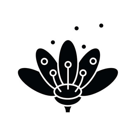 Pollen black glyph icon. Natural flowers reproduction. Pollination process, seasonal allergy, beekeeping silhouette symbol on white space. Blooming flower bud in blossom vector isolated illustration Ilustração
