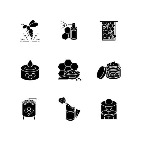 DIY beekeeping black glyph icons set on white space. Homemade apiculture. Natural honey making silhouette symbols. Professional apiarist tools and organic bee products. Vector isolated illustrations