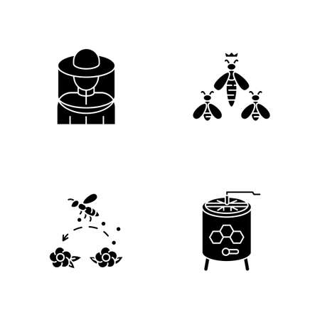 Beekeeping business black glyph icons set on white space. Beekeeper suit, queen bee, pollination and honey extractor silhouette symbols. Honeybees and apiarist tools. Vector isolated illustrations